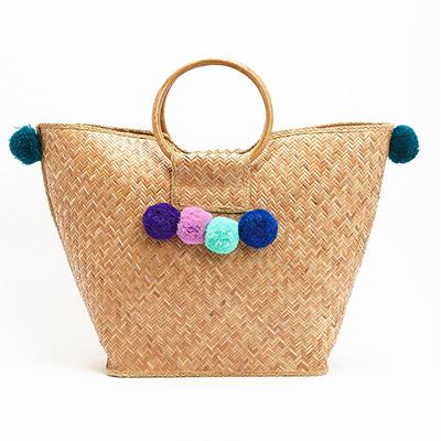 Pom Pom handbag for summer with woven straw