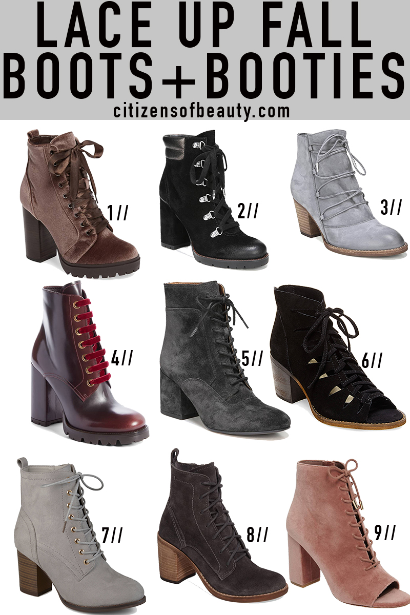Popular fall lace up booties