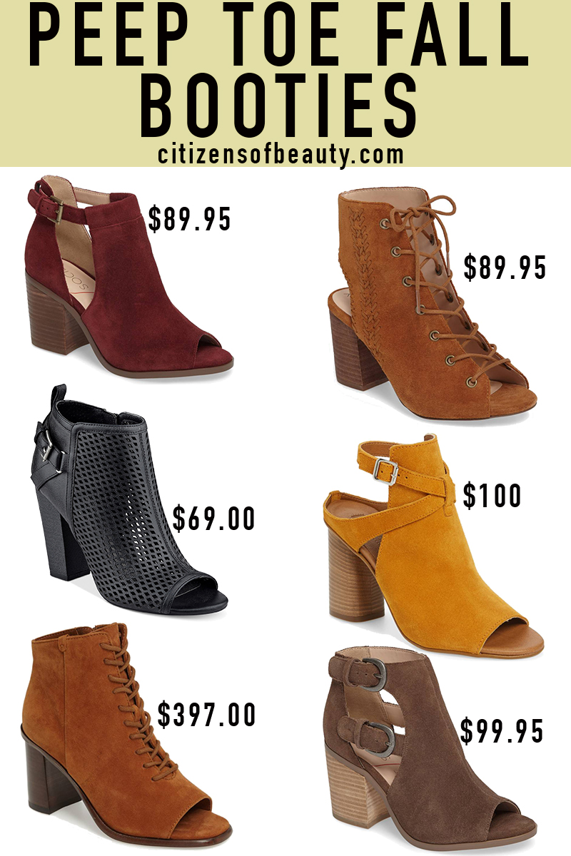 Popular Peep Toe fall booties in every price range