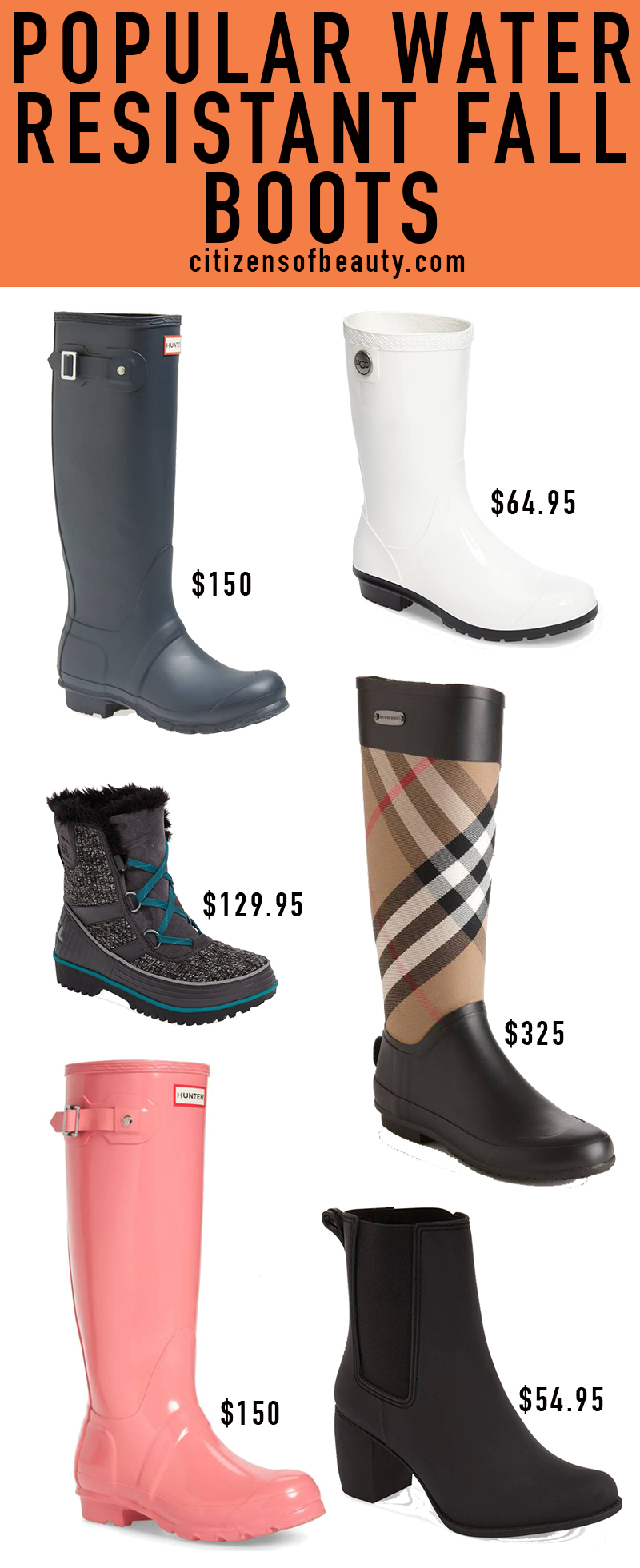Popular water resistant fall boots
