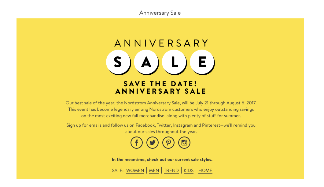 When does the Nordstrom Anniversary Sale start 2017