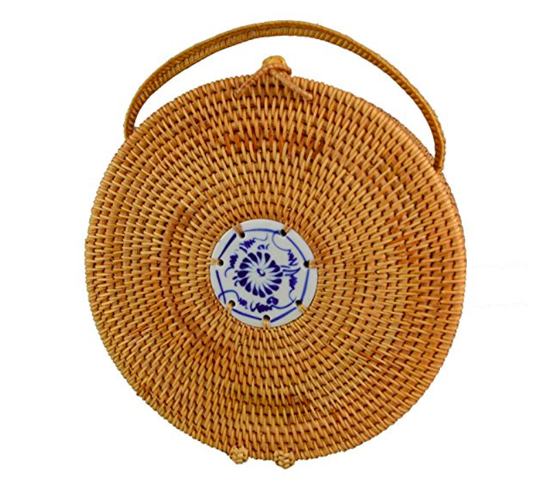 Round Straw woven Summer handbag with design in the middle