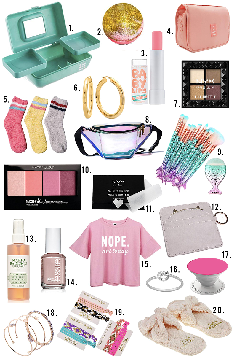 Small beauty, accessories, skincare gifts and stocking stuffer ideas for teen and tween girls under $10 dollars with Amazon Prime. Find lipstick, eyeshadow, Caboodle, cute socks and more with Austin, TX beauty and style blogger, Kendra Stanton.
