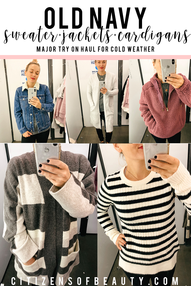 So many cute fall cozy sweaters, jackets, and cardigans at old navy right now. Check out this fall try on haul featuring the hottest cozy weather trends like a super fuzzy zip up sweater, long striped knit cardigan and more.