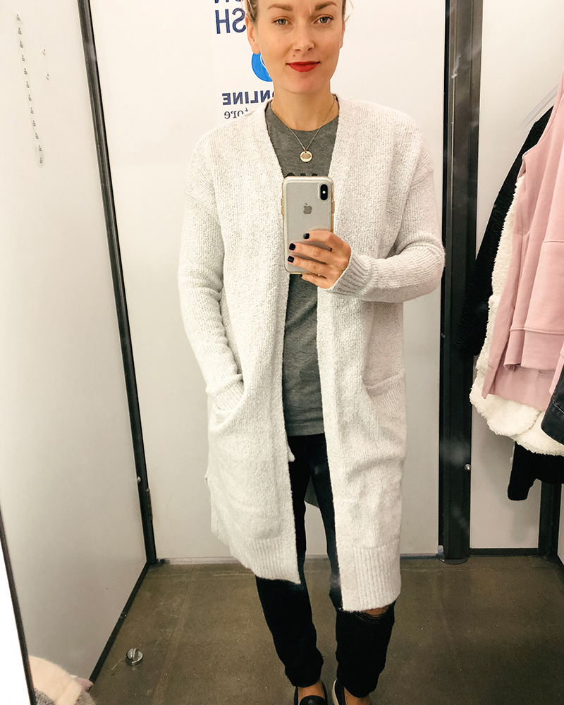The coziest long white cardigan from Old Navy with Style blogger Kendra Stanton