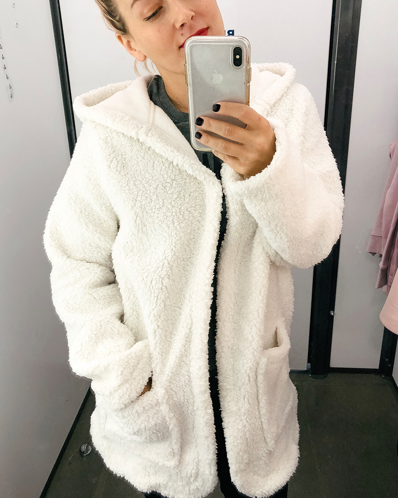 The coziest white fuzzy fall sweater cardigan for cold and chilly and a killer price.