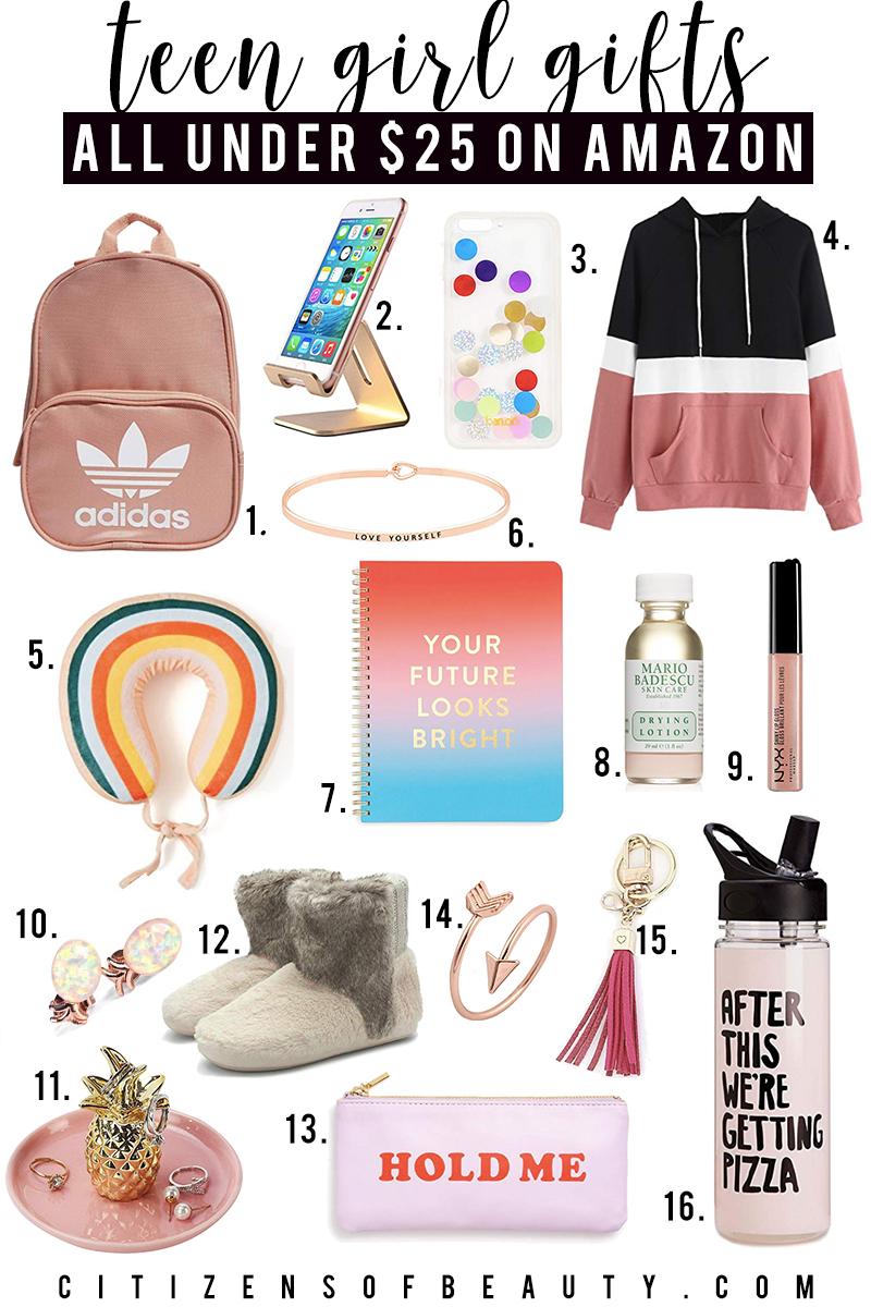 Amazon Prime has top Teen girl gifts under $25 like Adidas backpack, cell phone stand, hoodies, inpirational jewelry and more with style blogger, Kendra Stanton.