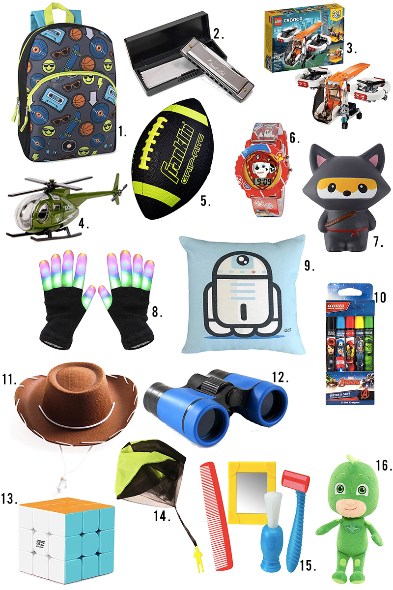 Under $10 Little boys ages 4-8 gift guide for holiday gifts, stocking stuffers, and more on Amazon and Amazon primce. Find LED gloves, footballs, squishy toys, backpacks, binoculars and more with Austin, TX lifestyle blogger, Kendra Stanton.