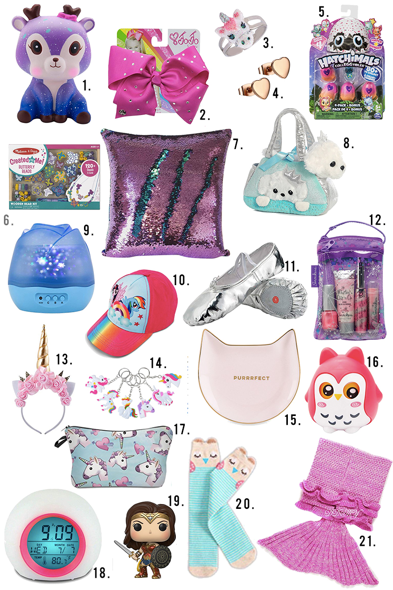 Under $10 Little girls ages 4-8 gift guide for holiday gifts, stocking stuffers, and more on Amazon and Amazon Prime. Find little squishy, pillows, unicorn gifts, hatchamals and more with Austin, TX lifestyle blogger, Kendra Stanton