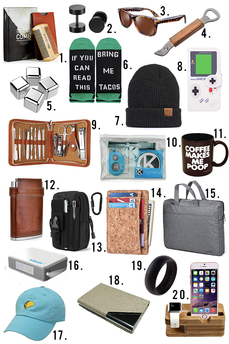 Under $10 mens gift guide for holiday gifts, stocking stuffers, and more on Amazon Prime. Find mens manicure set, tacticle set, laptop, wallet, phone accessoires and more with Austin, TX Lifestyle Blogger, Kendra Stanton.