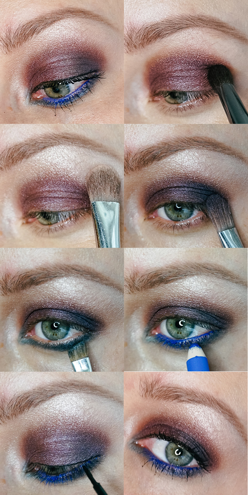 purple and blue smoky eyeshadow look using the beautycounter velvet statement eyeshadow palette