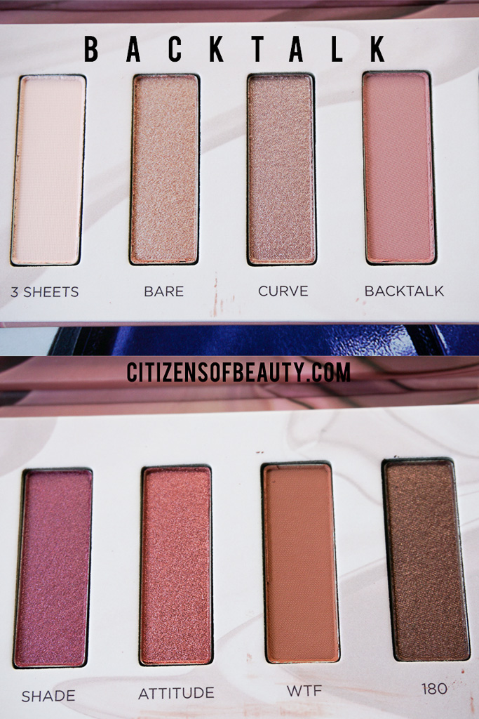 Urban Decay Backtalk Eyeshadow Colors
