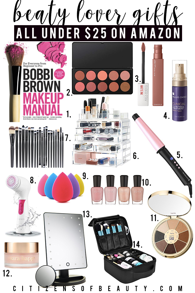 beauty lover gift guide for holiday presents under $25 for her on Amazon Prime. Find makeup books, eyeshadow palettes, makeup organizers, mirrors, skincare brushes, makeup brushes and so much more. Give the gift of beauty this holiday with this guide by beauty blogger, Kendra Stanton