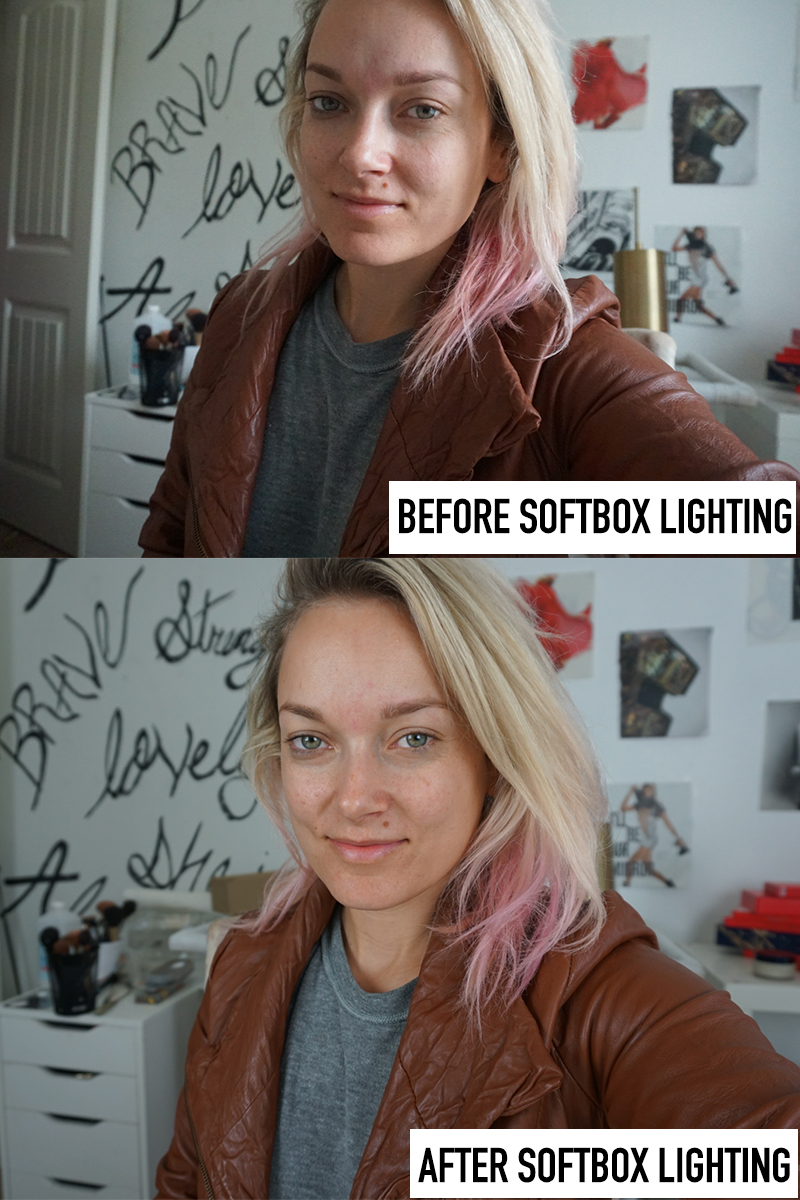 before and after using the best inexpensive softbox lighting on amazon