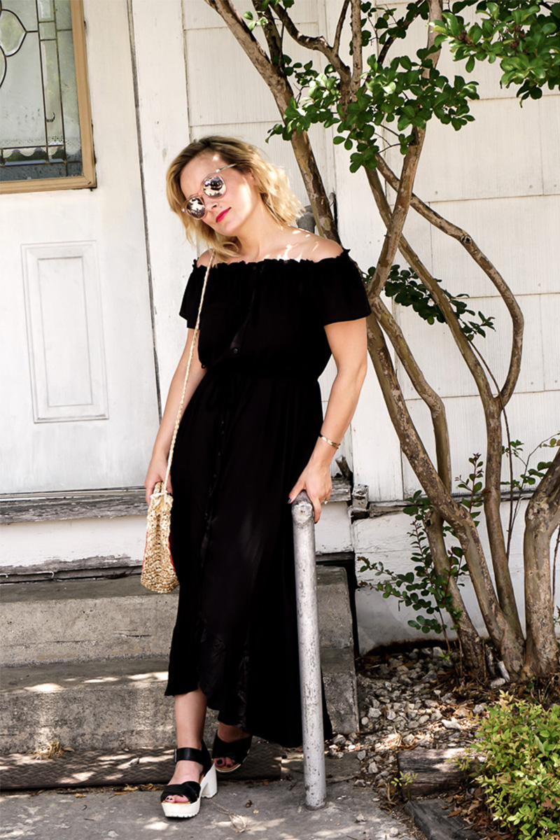 black button up summer dress
