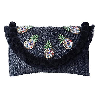 black straw woven crossbody bag with embellishments