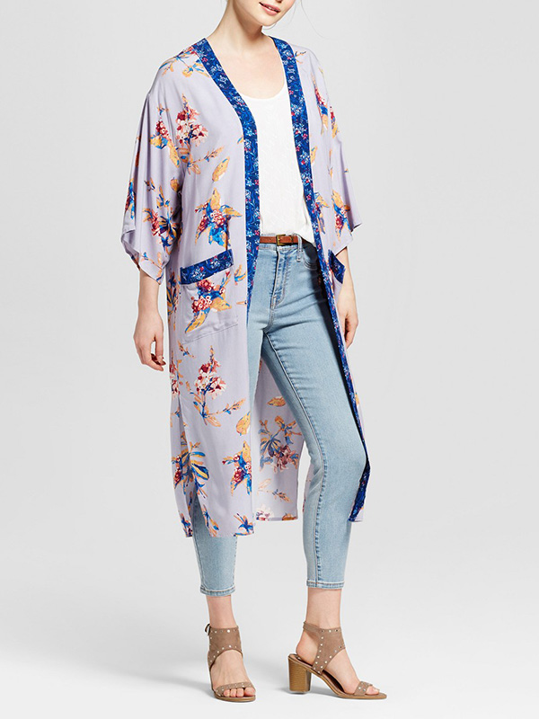 blue floral sheer kimono for summer