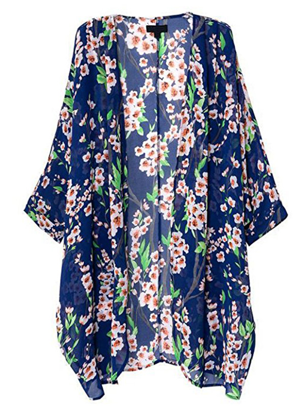 blue floral sheer kimono found on Amazon for $15.99