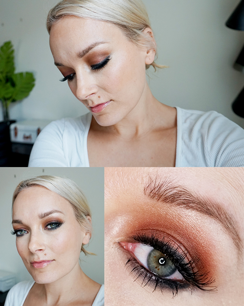 Gorgeous bronze and copper smoky eye makeup design using the non-toxic Beautycounter Velvet Classic Eyeshadow Palette for bridal makep and more with beauty and lifestyle blogger, Kendra Stanton.