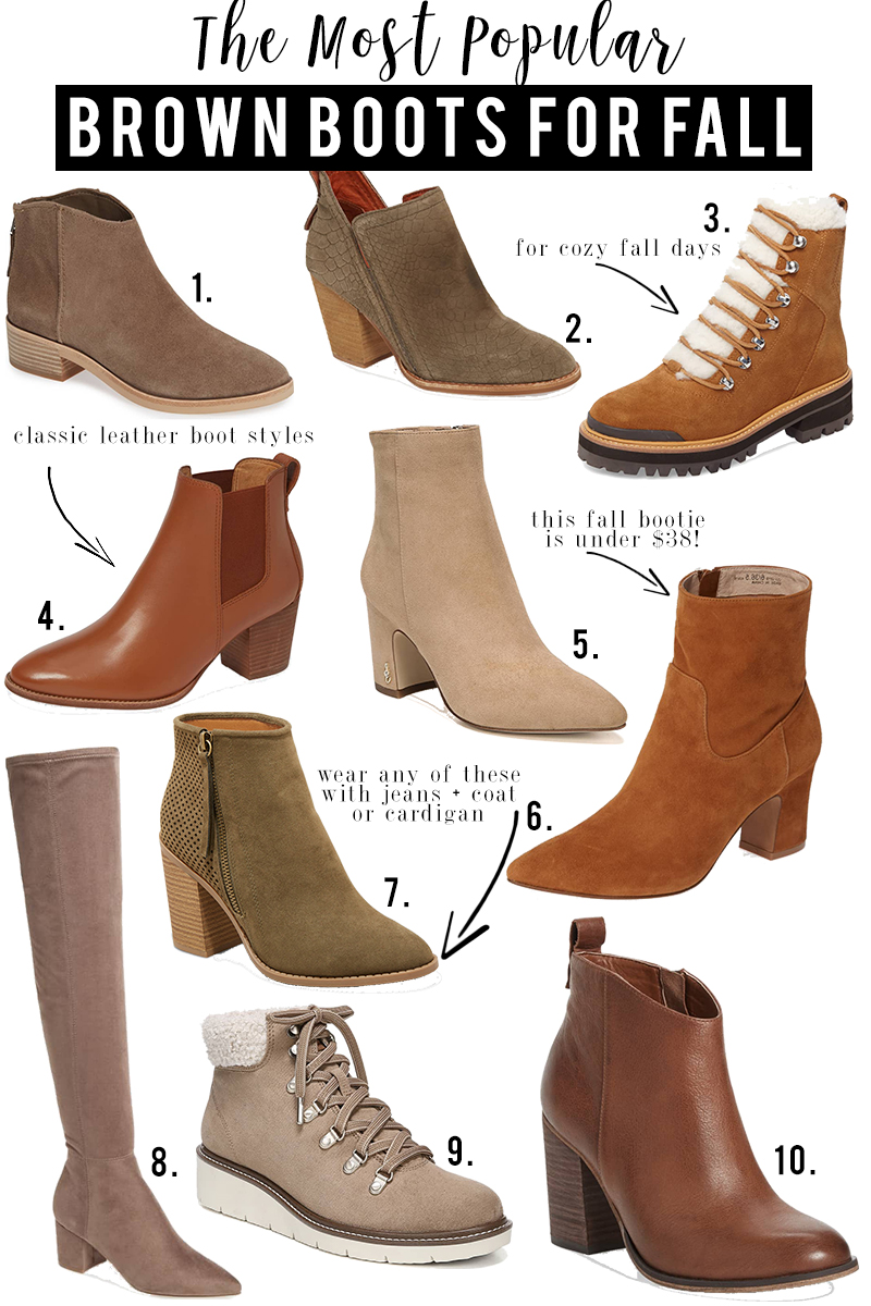 10 popular fall brown boots for 2018. Check out the latest fashion trends for fall by style blogger, Kendra Stanton