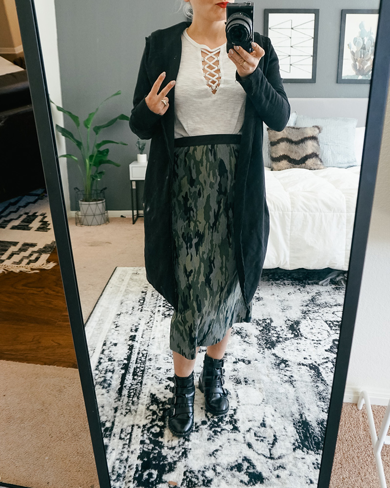 My closet try on haul with camo skirt, combat boots, and white t-shirt, plus how it's styled with style blogger, Kendra Stanton.