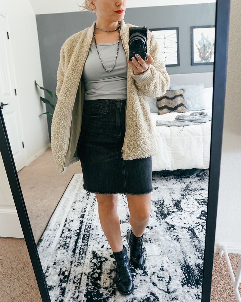 Get this denim skirt and cropped top shirt look with sherpa jacket from my what's in my closet try on Haul with style blogger, Kendra Stanton.