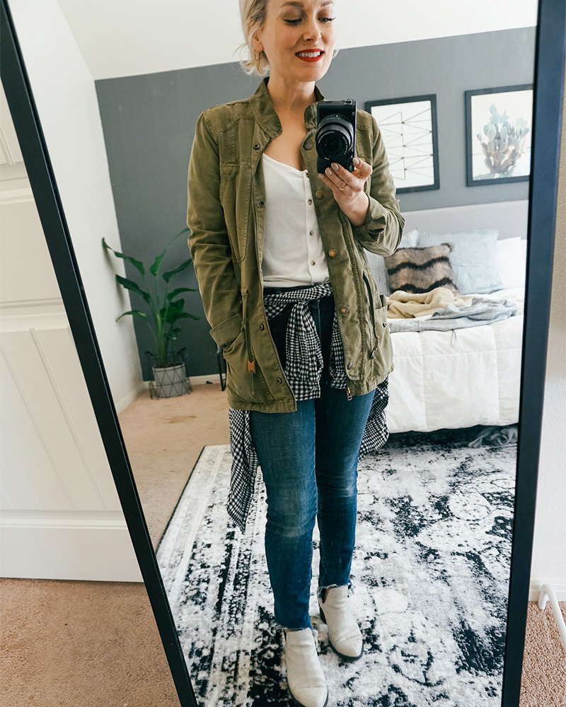 What's in my closet try on haul with casual clothes, green utility jacket, denim pants and henley top with style blogger Kendra Stanton.