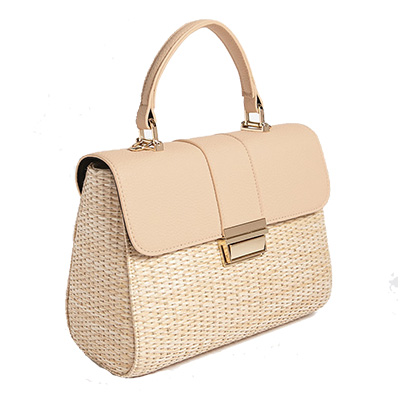 cream woven handbag with buckle enclosure under $50