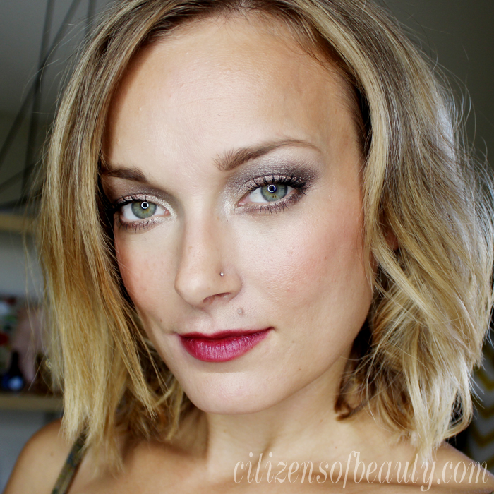 daytime fall makeup look wearing cranberry lips and silver eyes with Austin, TX Beauty blogger Kendra Stanton