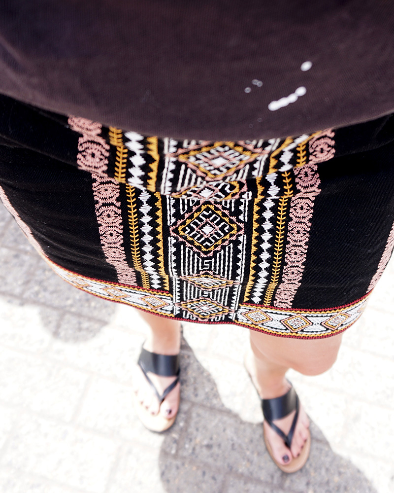 Evereve Summer Skirt with emroidered pattern