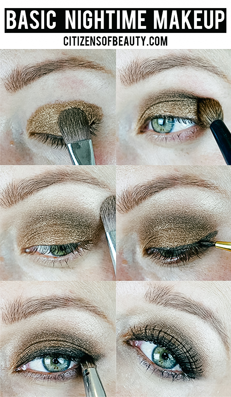 basic eye makeup look for night that is bronze and smoky
