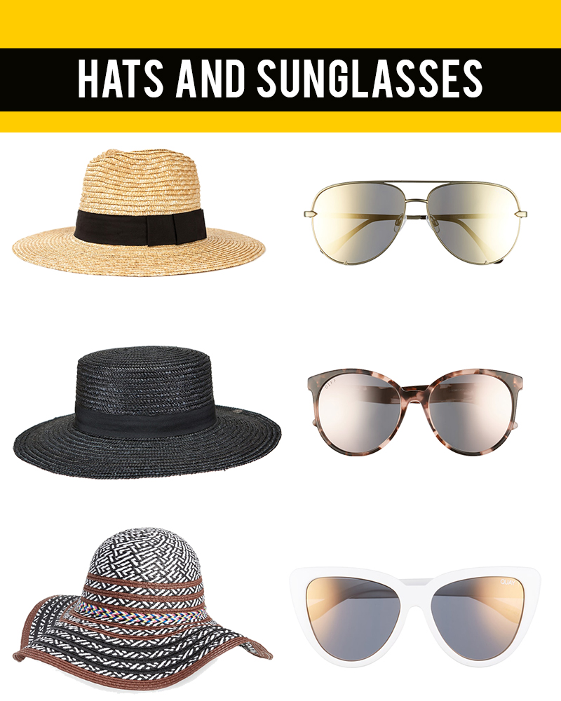 hats and sunglasses summer beauty essentials