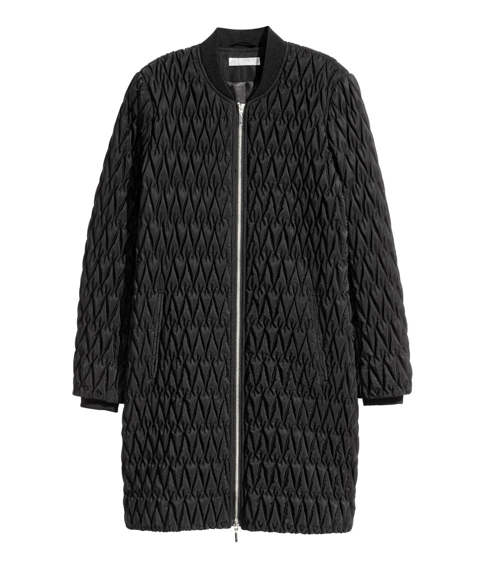 Quilted black coat for winter