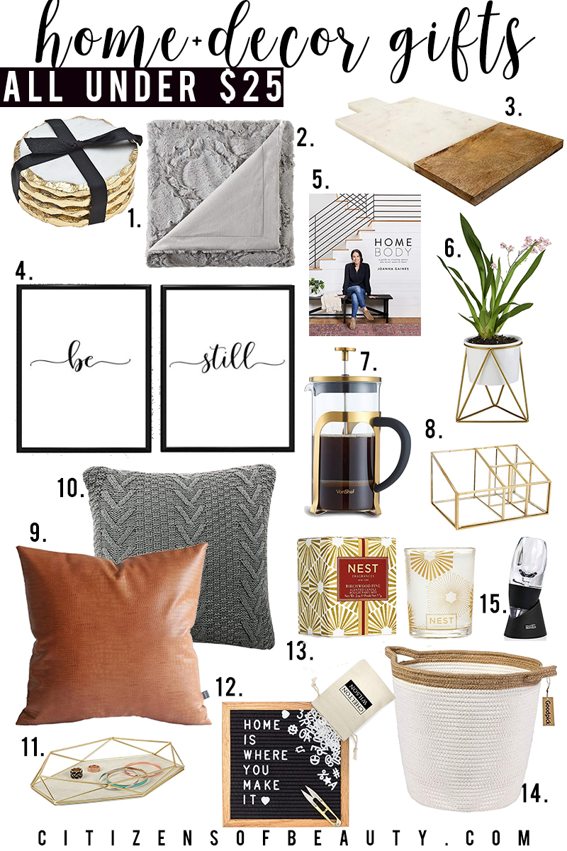 home and decor gift guide for holiday presents under $25 for her with Amazon. Find warm blankets, snuggly slippers, cozy sweaters and more all for unter twenty five with style blogger, Kendra Stanton
