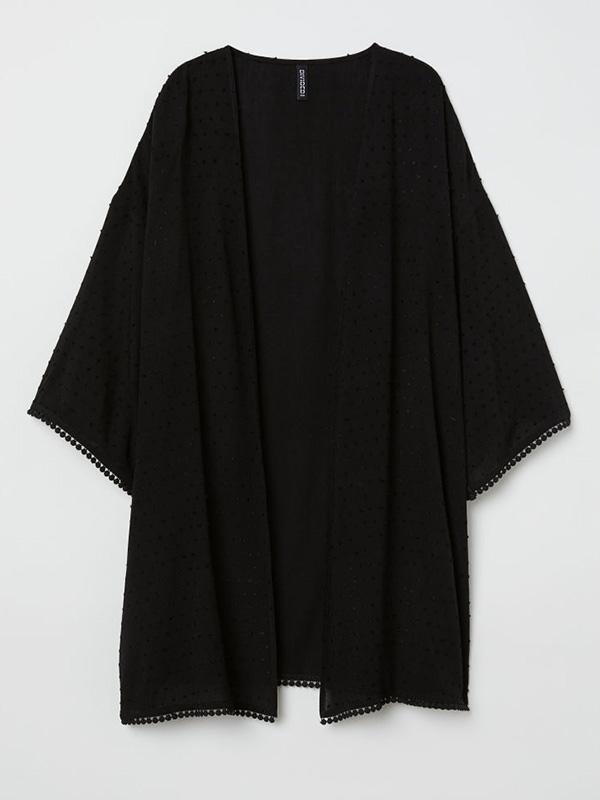 black krinkles kimono cardigan