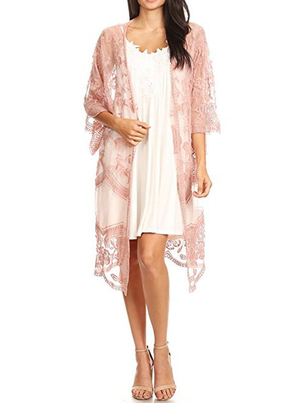 long embroidered light pink sheer kimono