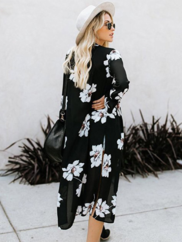 long sleeve black floral kimono found on Amazon