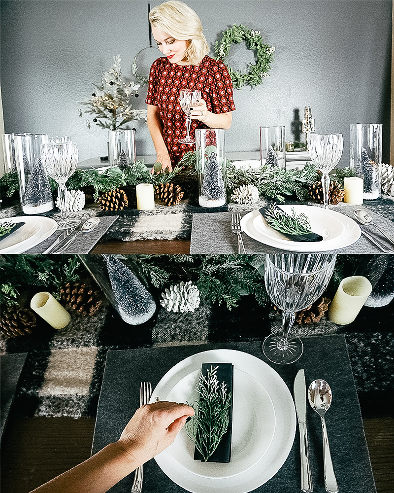 Dining Room Christmas Decor for a mid-century inspired holiday home with bottle brush wire mini trees, pinecones, and more with beauty and lifestyle blogger, Kendra Stanton.