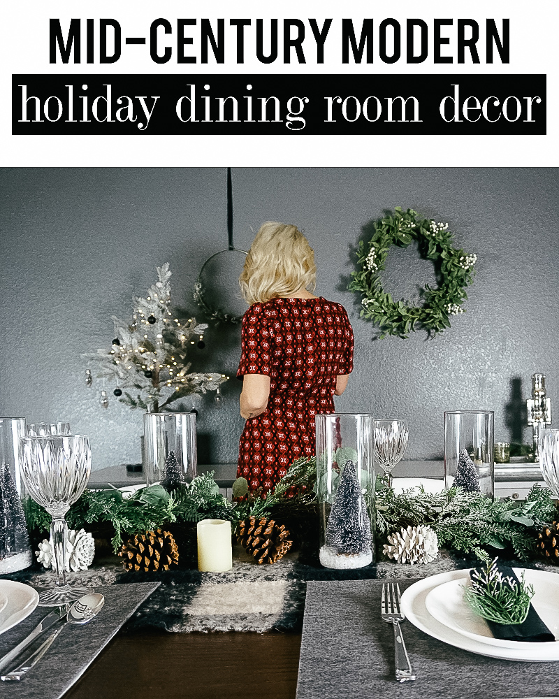 Dining Room Christmas Decor for a mid-century inspired holiday home with beauty and lifestyle blogger, Kendra Stanton.