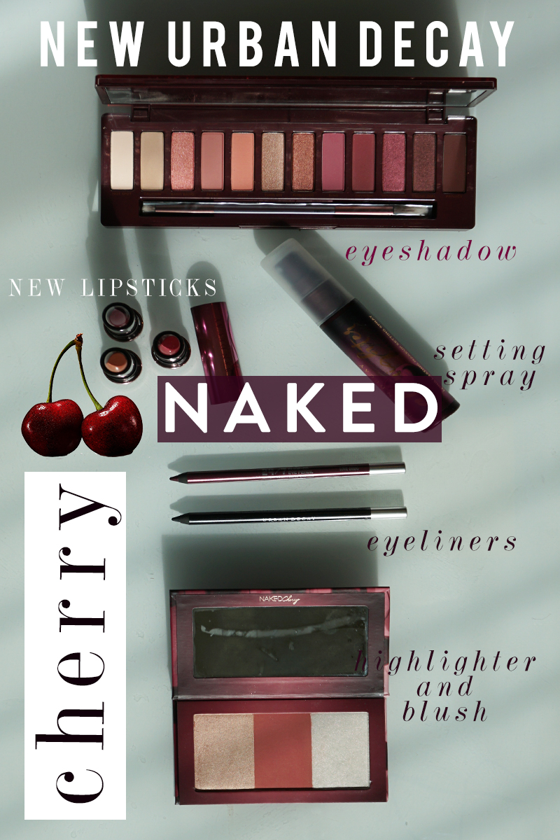 new urban decay NAKED cherry makeup set with eyeshadow, new lipsticks, eyeliners, blush, highlighter and more. Check out this full review, swatches, and makeup look