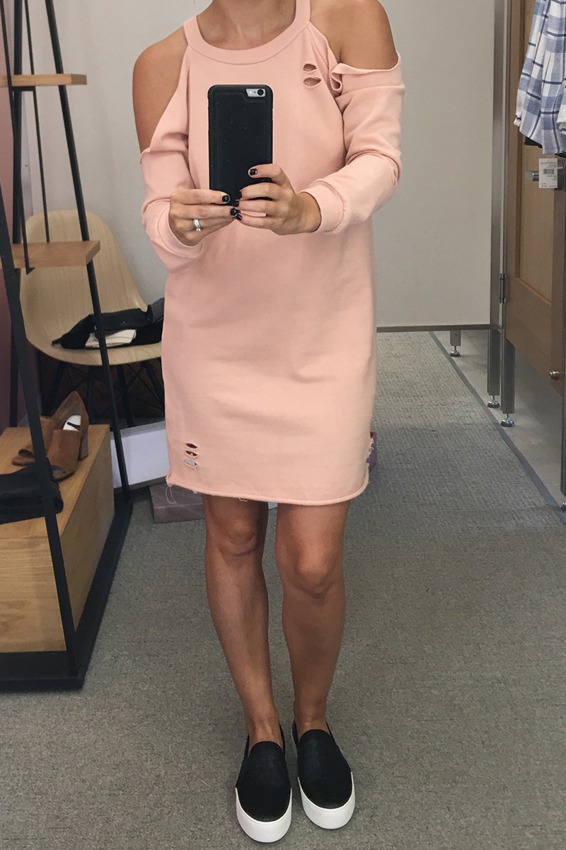 Pink Cold shoulder sweater and 1 state flats