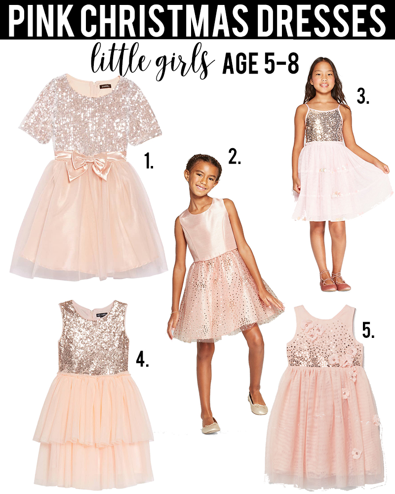 pink christmas dress ideas for little girls age 5-8 under $50 with beauty and lifestyle blogger, Kendra Stanton