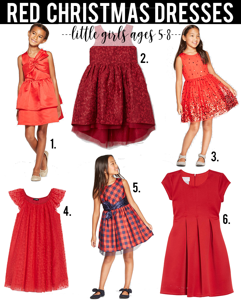 red christmas dress ideas for little girls age 5-8 under $50 with beauty and lifestyle blogger, Kendra Stanton