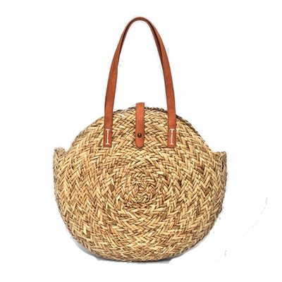 round straw summer bag with tan faux leather hadndle