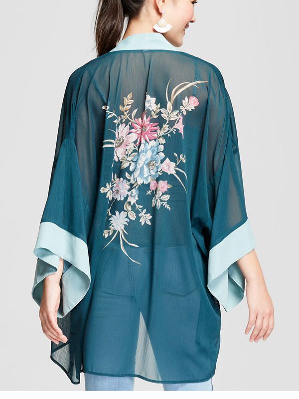 sea foam green floral kimono jacket