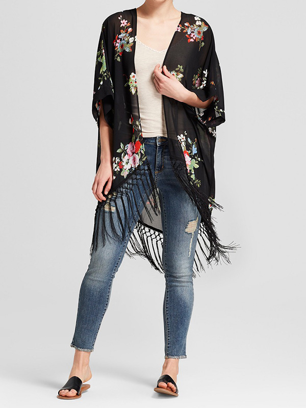 sheer black kimono with frindge detail