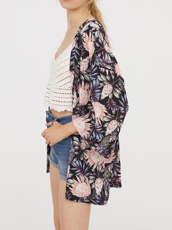 short kimono floral cardigan