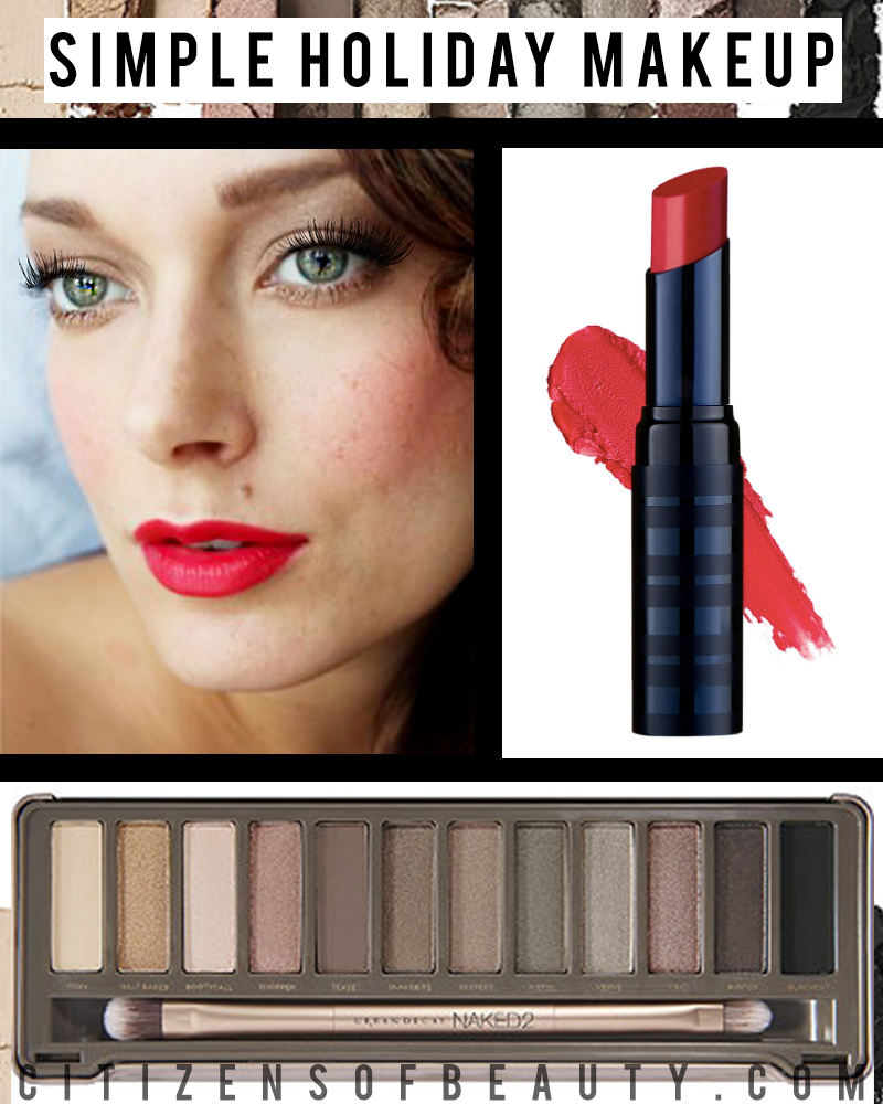 Simple Holiday Makeup Look with stunning red lips and classic eyes by beauty and lifestyle blogger, Kendra Stanton
