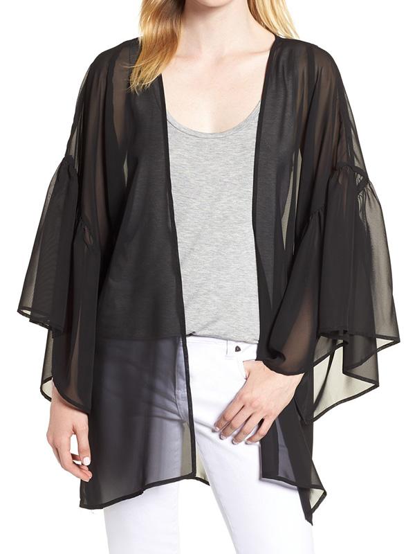 solid ruffle sleeve black kimono cardigan