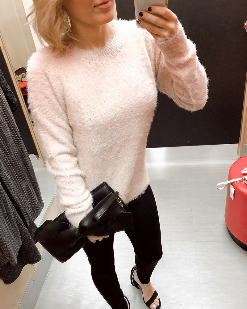 Target Holiday Party Women's Try on Haul pink fuzzy sweater and black pants with Austin, TX beauty and style blogger, Kendra Stanton